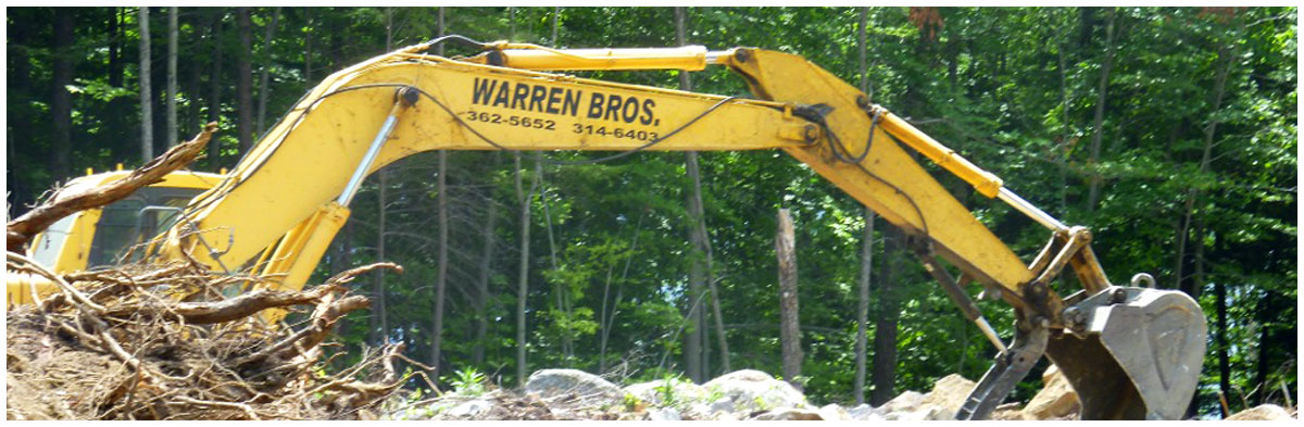 Excavator with company name